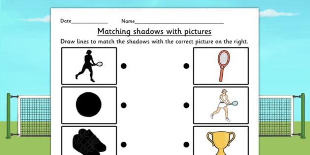 Wimbledon Themed Shadow Matching Worksheet - tennis, sports, pe