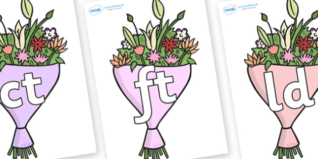 Final Letter Blends on Bouquets - Final Letters, final letter, letter blend, letter blends, consonant, consonants, digraph, trigraph, literacy, alphabet, letters, foundation stage literacy
