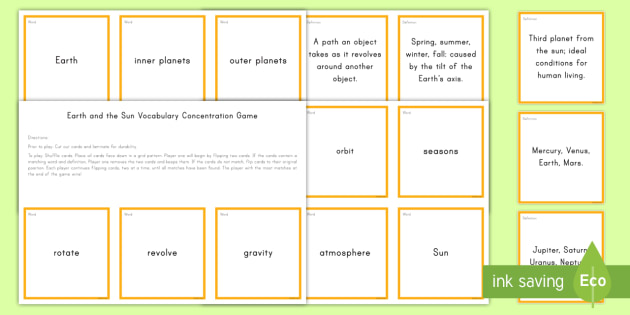 Earth and the Sun Concentration Game - Science Concentration Games, Body Systems, Earth and Sun, Ecology, Weather and Climate, Heat Energy,