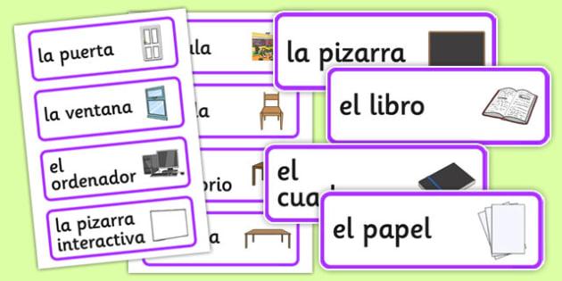 Spanish Classroom Word Cards - MFL, Spanish, Modern Foreign Languages, basic phrases in Spanish, foundation, languages, cards, wordcards, flashcards