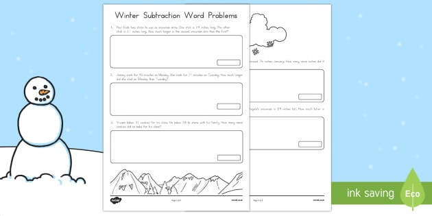 Winter Word Problems Subtraction Activity