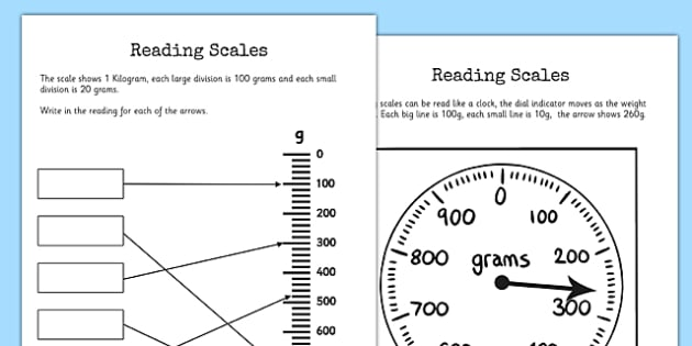Reading Scales Worksheets - reading scales, worksheet, scales