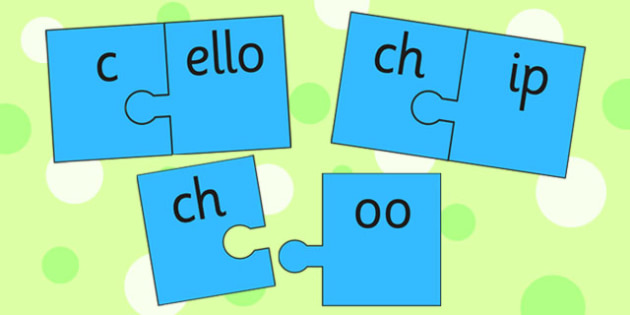 ch and Vowel Production Jigsaw Cut Outs - ch sound, sound, jigsaw