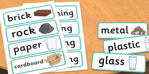 Year 2 Use of Everyday Materials Scientific Vocabulary Cards