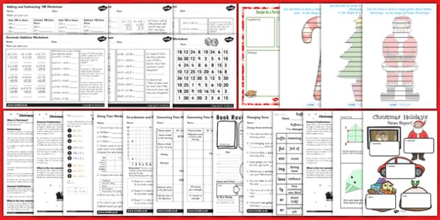 KS2 Christmas Holiday Homework Pack - ks2, christmas, holiday