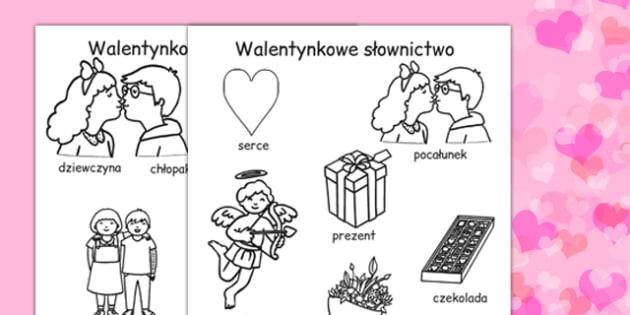 Kolorowanka na Walentynki ze slownictwem po polsku - szkola , Polish