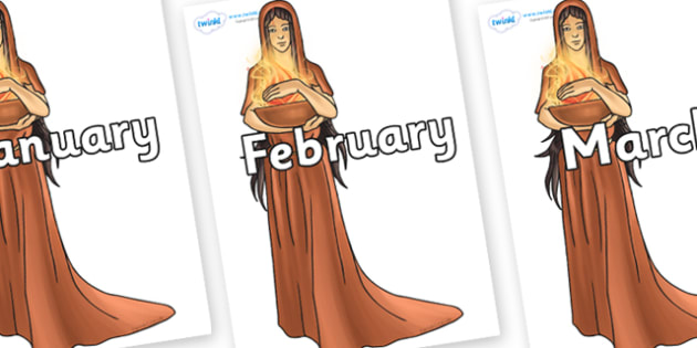 Months of the Year on Hestia - Months of the Year, Months poster, Months display, display, poster, frieze, Months, month, January, February, March, April, May, June, July, August, September
