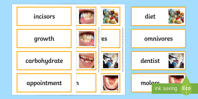Teeth and Nutrition Word Cards - teeth, nutrition, healthy living, teeth word cards, nutrition word cards, health word cards, healthy eating word cards