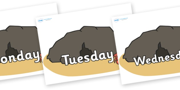 Days of the Week on Caves - Days of the Week, Weeks poster, week, display, poster, frieze, Days, Day, Monday, Tuesday, Wednesday, Thursday, Friday, Saturday, Sunday