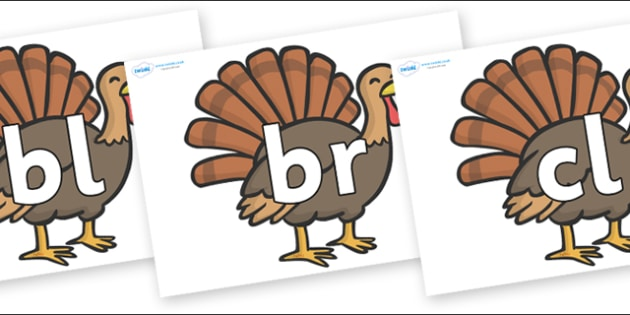 Initial Letter Blends on Turkeys - Initial Letters, initial letter, letter blend, letter blends, consonant, consonants, digraph, trigraph, literacy, alphabet, letters, foundation stage literacy