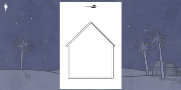Nativity Stable Christmas Card Template - nativity, christmas