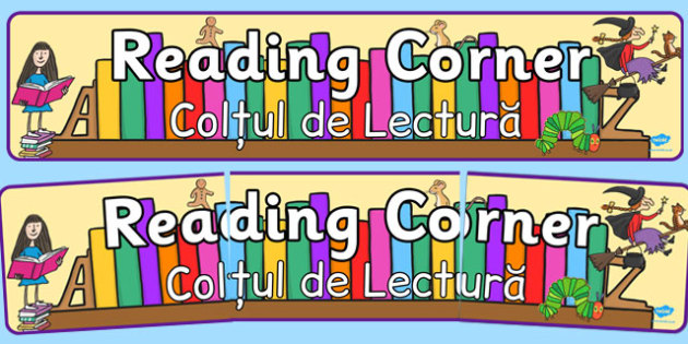 Reading Corner Display Banner Romanian Translation - area, library, books, section, display, literature, read, quiet, ks1, ks2, key stage, english, classroom, management, organisation,