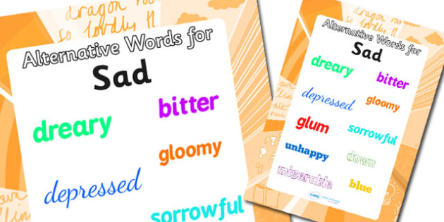 Alternative Words For Sad Display Poster (Large) - alternative words poster, alternative words for sad, synonym posters, powerful words, better words, ks2