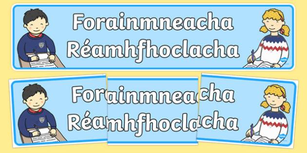 Forainmneacha Réamhfhoclacha Display Banner-Irish