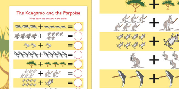 The Kangaroo and the Porpoise Up to 10 Addition Sheet - australia, australian, kangaroo, porpoise, dreamtime, story, traditional, adding, plus, more, addition, 10, number, maths