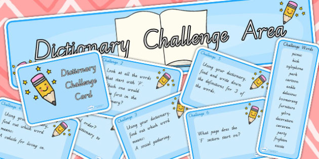 Dictionary Challenge Area Pack - dictionary, challenge, areas
