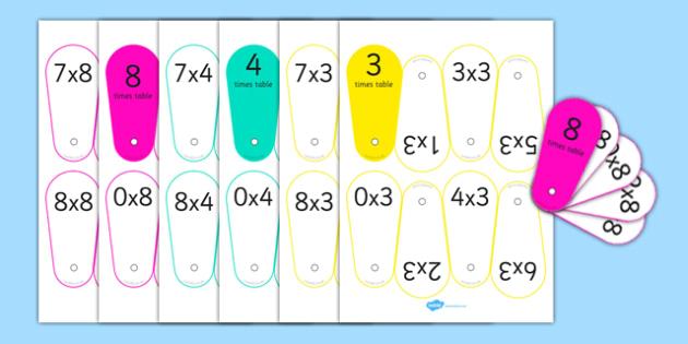 Times Tables Fans 3, 4, 8 - times tables, fans, 3, 4, 8, times, tables, multiply
