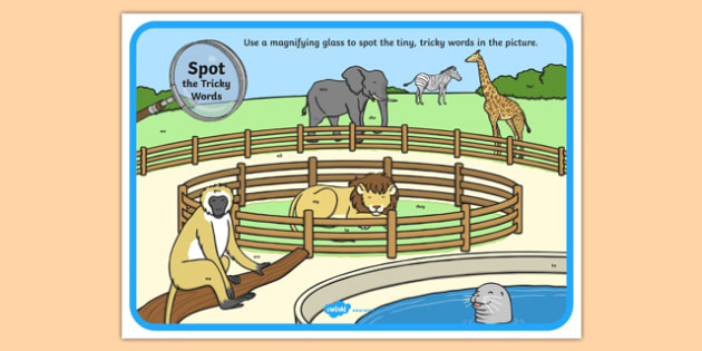 Phase 3 Tricky Words Zoo Scene Magnifying Glass Poster