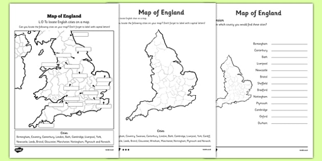 Locating English Cities on a Map Differentiated Worksheet