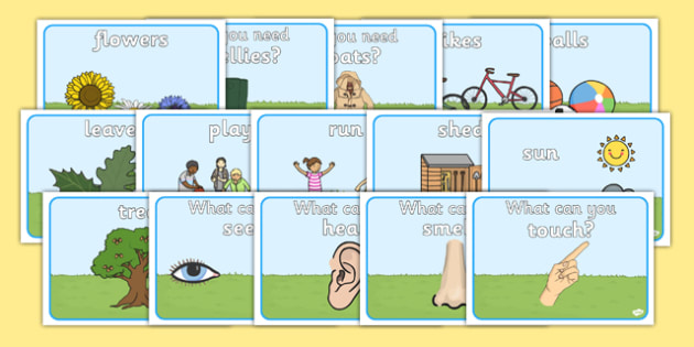 Outdoor Area Word Posters - Outdoor Area, Display Words, Outside Area, Outdoor Classroom, Sand, PE, Balls, Playground, Weather