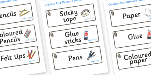 Monkey Themed Editable Creative Area Resource Labels - Themed creative resource labels, Label template, Resource Label, Name Labels, Editable Labels, Drawer Labels, KS1 Labels, Foundation Labels, Foundation Stage Labels