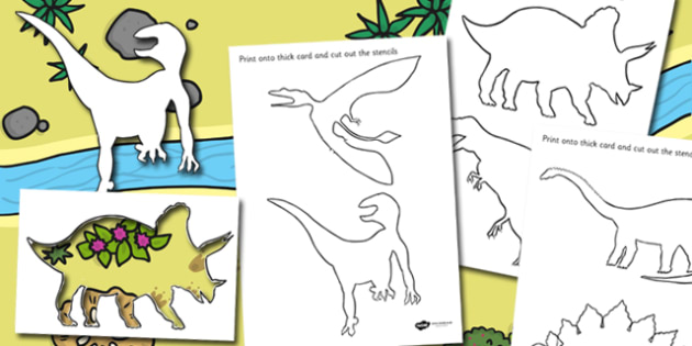 Dinosaur Stencils - dinosaur, stencils, drawing, art, colouring