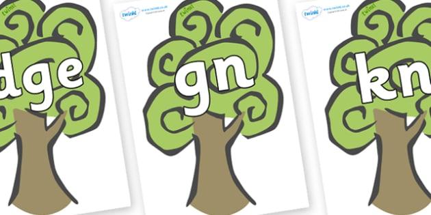 Silent Letters on Trees - Silent Letters, silent letter, letter blend, consonant, consonants, digraph, trigraph, A-Z letters, literacy, alphabet, letters, alternative sounds
