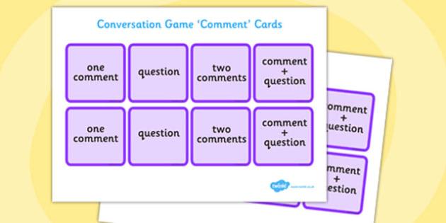 Conversation Game: Comment Cards Purple - conversation game