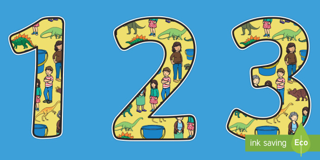 Themed A4 Display Numbers to Support Teaching on Harry and the Bucketful of Dinosaurs