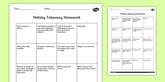 Editable Holiday Takeaway Homework - homework, takeaway, holiday