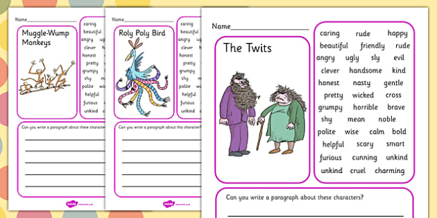 Character Description Writing Frame to Support Teaching on The Twits - character, frame