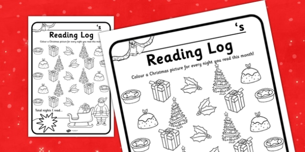 Christmas Themed Reading Log - christmas, themed, reading, log, read