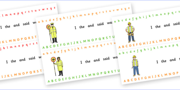 Alphabet Strips (People who help us) - Alphabet, Learning letters, Writing aid, Writing Area, people who help us, fireman, teacher, doctor, fireman, paramedic