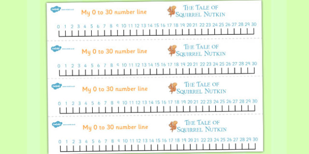 The Tale of Squirrel Nutkin Number Lines 0-30 - squirrel nutkin, number lines