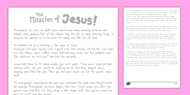 The Miracles of Jesus Bible Stories Print Out - usa, america, christianity