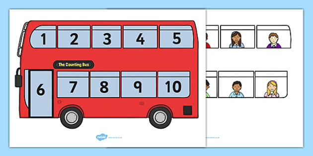 Interactive Bus Counting Activity - Counting game, one to one correspondence, counting activity, counting reliably, how many, foundation numeracy, counting on, counting back, numeracy, counting, 1-10, numbers to 10, transport