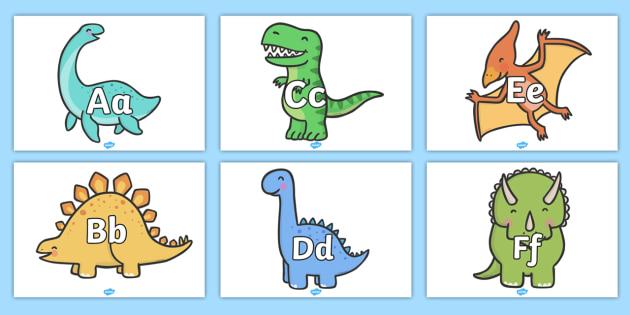 A-Z Alphabet on Dinosaurs - Alphabet frieze, Display letters, Letter posters, A-Z letters, Alphabet flashcards, dinosaurs, dinosaur topic, t-rex, stegosaurus, raptor, iguanodon, tyrannasaurus rex