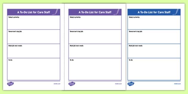 A To Do List for Care Staff - to-do list, care staff, care, staff, to-do