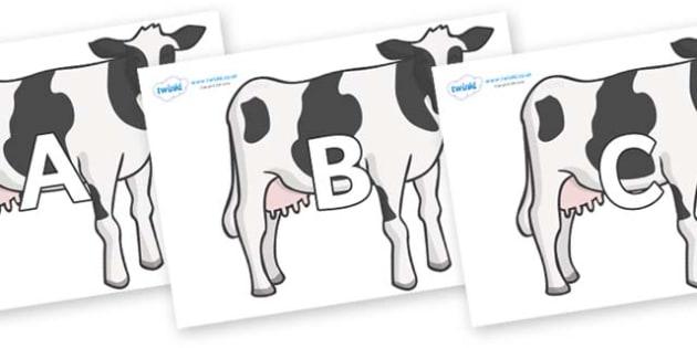 A-Z Alphabet on Cows - A-Z, A4, display, Alphabet frieze, Display letters, Letter posters, A-Z letters, Alphabet flashcards