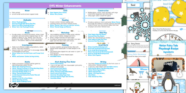 EYFS Winter Themed Enhancement Ideas And Resources Pack - EYFS planning, early years, winter, small world
