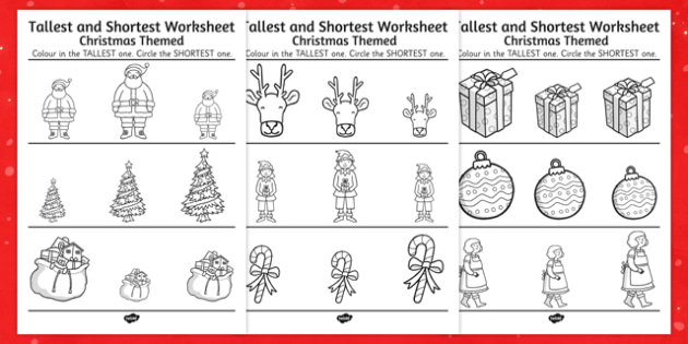 Christmas Themed Tallest and Shortest Worksheets - christmas