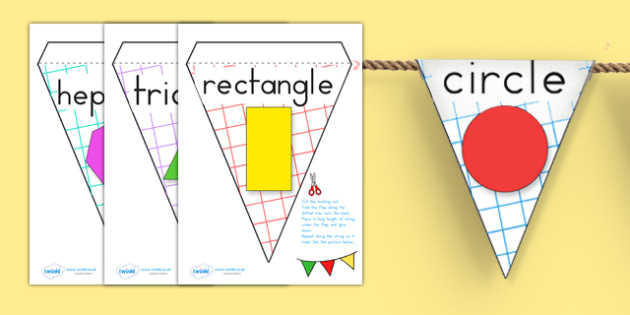 Shape Display Bunting - shape, numeracy, maths, bunting, display