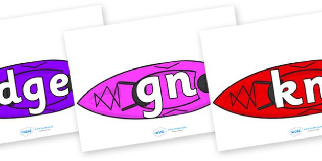 Silent Letters on Canoes - Silent Letters, silent letter, letter blend, consonant, consonants, digraph, trigraph, A-Z letters, literacy, alphabet, letters, alternative sounds