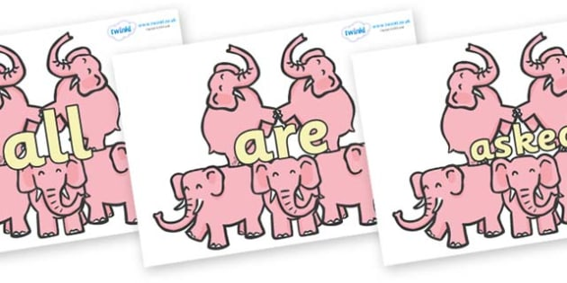 Tricky Words on Five Elephants - Tricky words, DfES Letters and Sounds, Letters and sounds, display, words