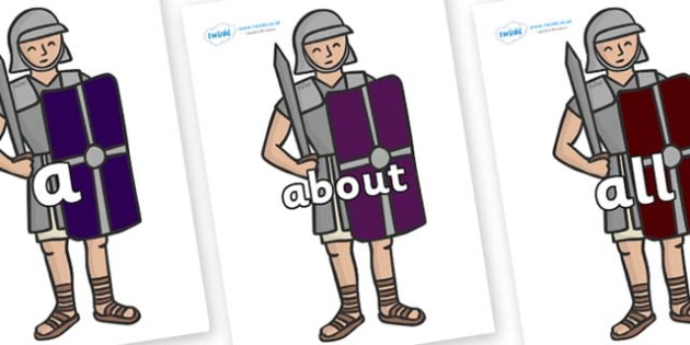 100 High Frequency Words on Roman Soldiers - High frequency words, hfw, DfES Letters and Sounds, Letters and Sounds, display words