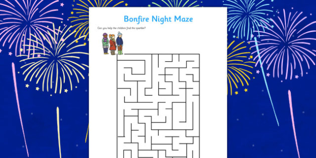 Bonfire Night Maze Activity Sheet - Bonfire Night Maze Activity Sheet, bonfire night, bonfire, Guy Fawkes, bonfire, maze, activity, sheet, worksheet, Houses of Parliament, plot, treason, fireworks, Catholic, Protestant, James I, November the 5th, 5th