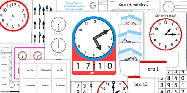 Citirea ceasului - Pachet pentru Lapbook - citire, ces, pachet, lapbook, unități de măsură, materiale, materiale didactice, română, romana, material, material didactic