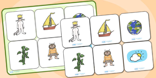 Matching Cards and Board to Support Teaching on Where the Wild Things Are - where the wild things are, where the wild things are picture matching game, image matching activity