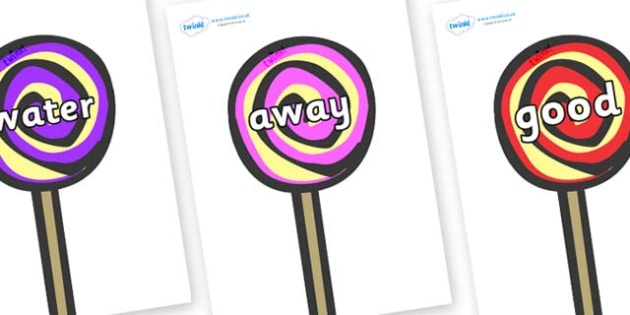Next 200 Common Words on Lollipops to Support Teaching on The Very Hungry Caterpillar - Next 200 Common Words on  - DfES Letters and Sounds, Letters and Sounds, Letters and sounds words, Common words, 200 common words