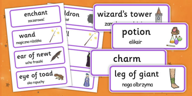 Magic Word Cards Polish Translation - polish, halloween, word cards, word, cards, magic